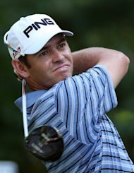 South Africa's Louis Oosthuizen tees off from the ninth hole during the final round of the Deutsche Bank Championship on September 3. He closed with an even-par 71 on the TPC Boston to finish solo in second at 19-under at the $8 mn tournament
