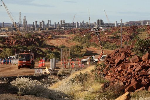 Woodside Petroleum's Pluto development on the Burrup Peninsula in Western Australia, June 17, 2008. Australia's Woodside Petroleum Ltd. on Friday announced it was shelving onshore plans for the controversial multi-billion-dollar Browse liquefied natural gas export project.