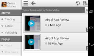 Capture One Minute Video Moments With AirGol And Build Your Video Network image AirGol Interface 1024x614