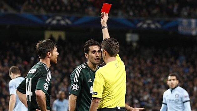 Champions League, Manchester City-Real Madrid, Arbeloa, Rocchi red card (AP/LaPresse)