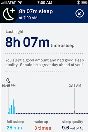 Screenshot of sleep app