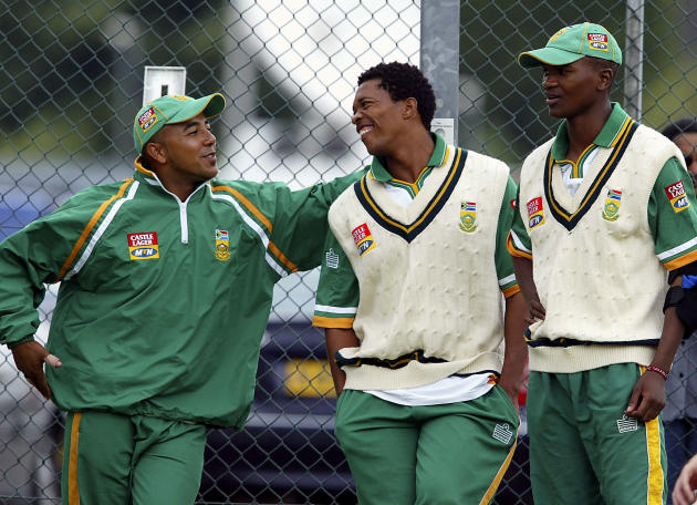Paul Adams, Makhaya Ntini and Monde Zondeki take a break