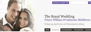 A screen-grab of the newly launched royal wedding site, officialroyalwedding2011.org.