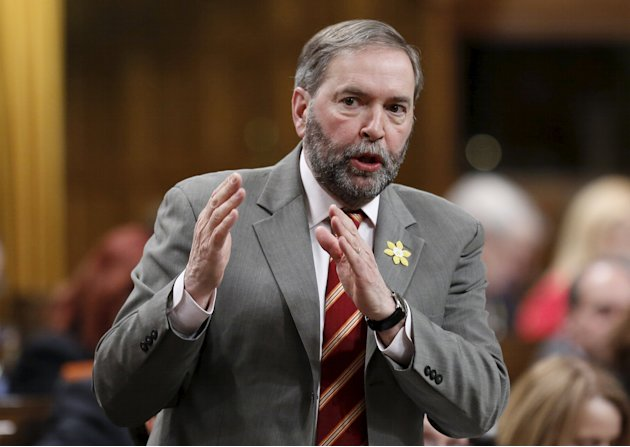 New Democratic Party leader Thomas Mulcair speaks during Question Period in the House of Commons on Parliament Hill in Ottawa April 1, 2015. REUTERS/Chris Wattie