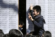 A student shows a victory sign during celebrations after passing the entrance examination for Tokyo University, 2011. Japanese researchers are working on a robot they hope will be smart enough to ace entrance exams at the nation's top university, which test everything from maths to foreign languages