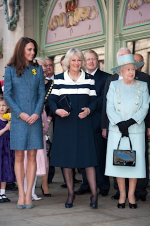 Duchess Catherine, Duchess Camilla, and Queen Elizabeth all dressed in blue