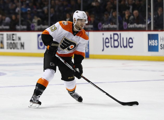 NEW YORK, NY - NOVEMBER 03: Shayne Gostisbehere #53 of the Philadelphia Flyers in action against the New York Islanders during their game at the Barclays Center on November 3, 2016 in New York City. (Photo by Al Bello/Getty Images)