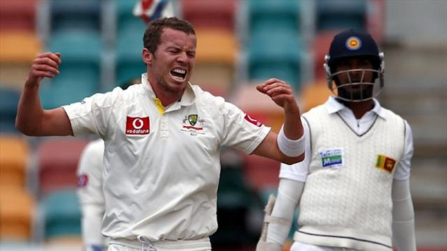 Australia's Peter Siddle after trapping Sri Lanka's Kumar Sangakkara lbw (Reuters)