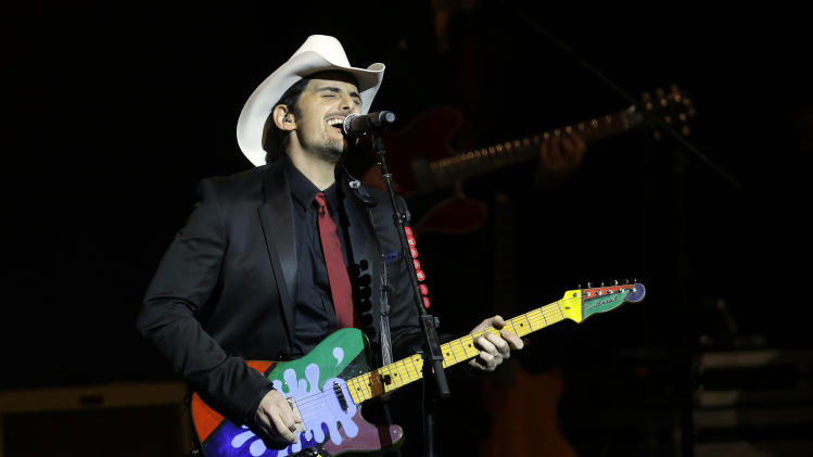 Brad Paisley performs during The Inaugural Ball at the Washignton convention center during the 57th Presidential Inauguration in Washington, Monday, Jan. 21, 2013. (AP Photo/Paul Sancya)