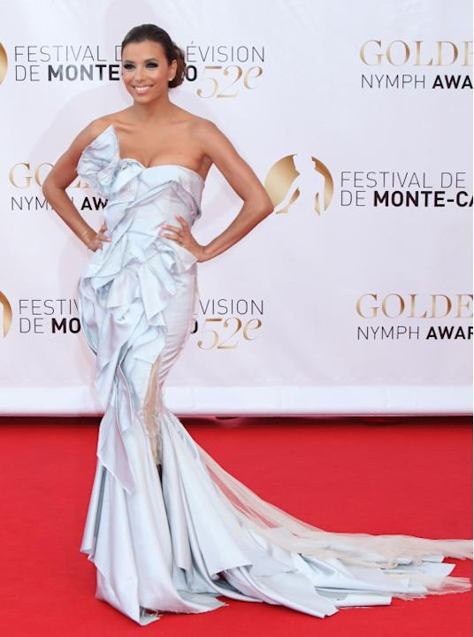 Eva Longoria arrives on the red carpet for the closing ceremony of the 52nd annual Monte Carlo television festival, Monte Carlo, Monaco