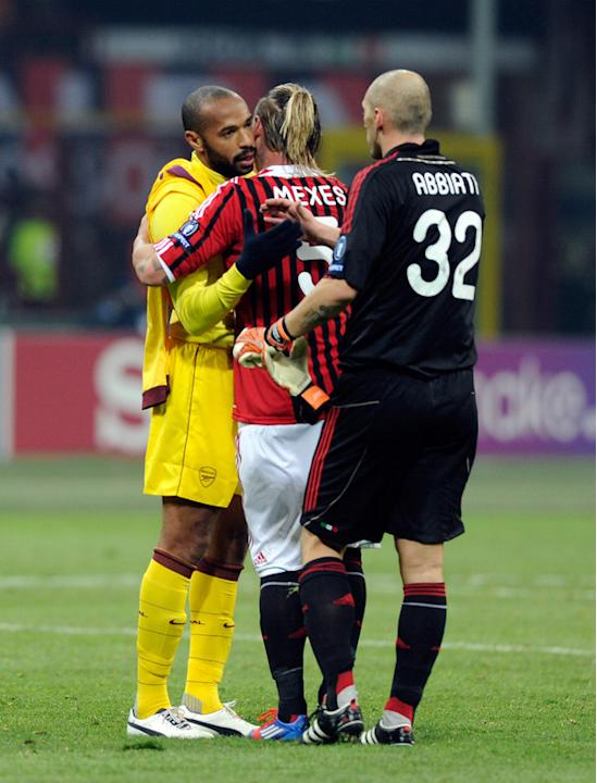 Philippe Mexes And Christian Abbiati #32 Of AC Milan And Thierry Henry (L) Of Arsenal FC Getty Images