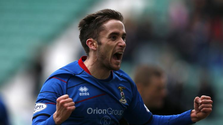 Inverness Caledonian Thistle's Ross celebrates his goal against Hearts during their Scottish League Cup semi final soccer match in Edinburgh