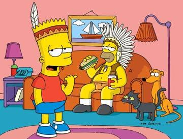 Bart (voiced by Nancy Cartwright) and Homer (voiced by Dan Castellaneta) join the Pre-Teen Braves in the episode 'Bart of War.' Fox's The Simpsons