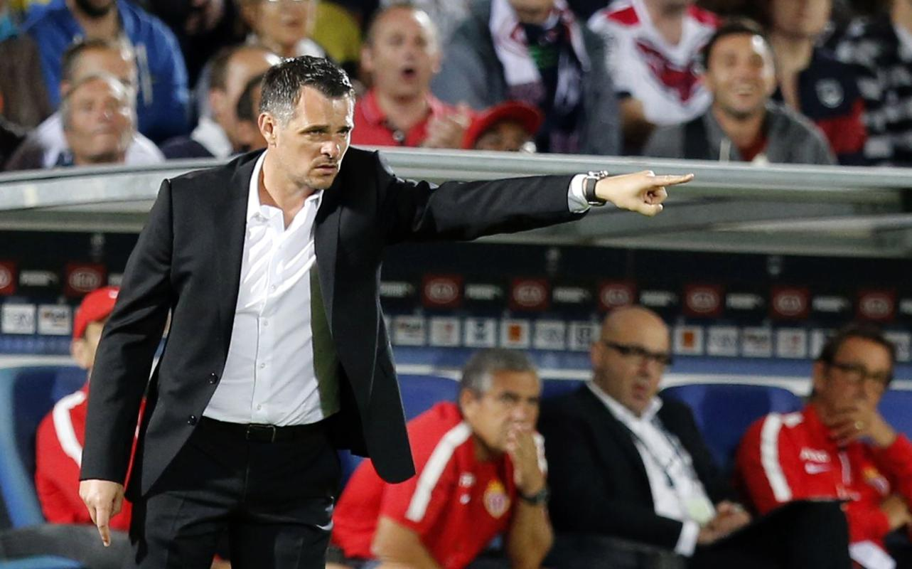 Willy Sagnol, coach of Girondins Bordeaux, gestures during their French Ligue 1 soccer match against Monaco in Bordeaux