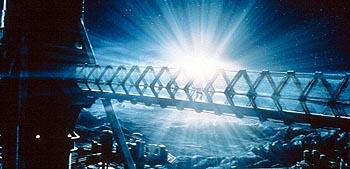Nick Vanzant races through the gantry of the moon-mining colony in MGM's Supernova