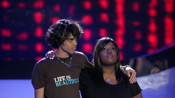 Sanjaya Malakar and LaKisha Jones wait to see who will be eliminated on the 6th season of American Idol.