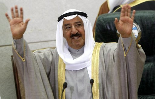 Kuwait's public prosecution on Sunday ordered the detention of four Twitter users for 10 days for allegedly insulting the ruler of the oil-rich Gulf state, Emir Sheikh Sabah al-Ahmad al-Sabah, pictured in February 2012, a rights group said
