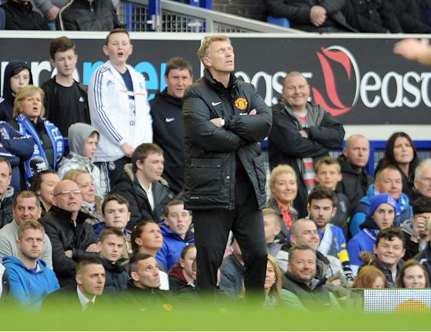 Manchester United's manager David Moyes is seen during their English Premier League soccer match against Everton at Goodison Park in Liverpool, England, Sunday April 20, 2014. (AP Photo/Clint Hugh