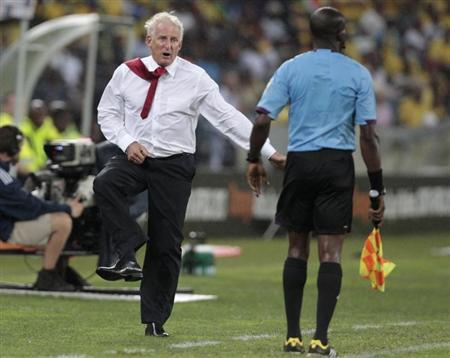 South Africa's coach Gordon Igesund reacts during their African Nations Cup Group A match against Morocco in Durban