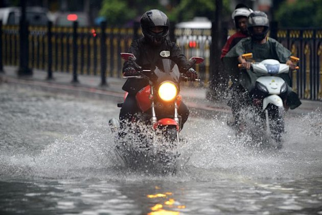 A flooded street in Manila on September 23, 2013