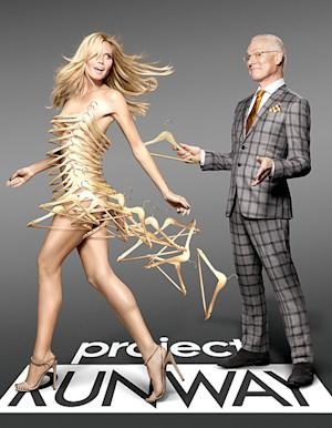 Heidi Klum Poses in Dress Made Out of Hangers For Project …