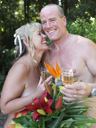 The naturists got married on January 5 at the Wellington Naturist Club in New Zealand.