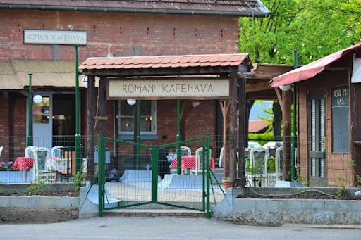 Exterior of the Romani Kafenava (Roma coffeeshop) is pictured in Maribor, north-eastern Slovenia, on April 11, 2014