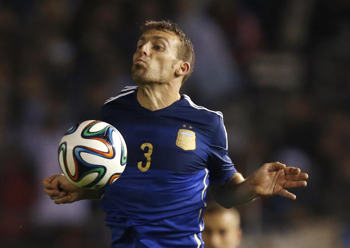 Argentina's Campagnaro controls the ball during a friendly soccer match against Trinidad and Tobago in Buenos Aires