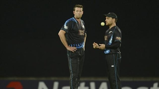 New Zealand's Ian Bishop speaks to captain Brendon McCullum (right) during the first T20 international cricket match against England at the Oval (Reuters)