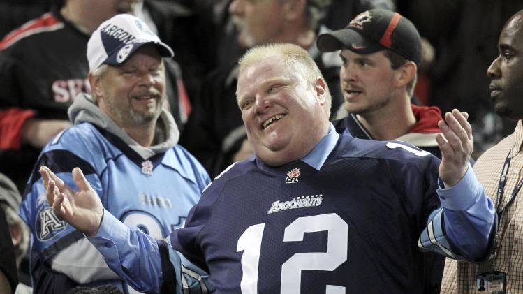 Toronto Mayor Rob Ford watches the CFL eastern final football game between the Toronto Argonauts and the Hamilton Tiger Cats in Toronto