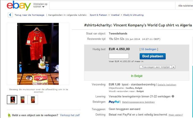 Kompany auctions Belgium World Cup shirt for charity