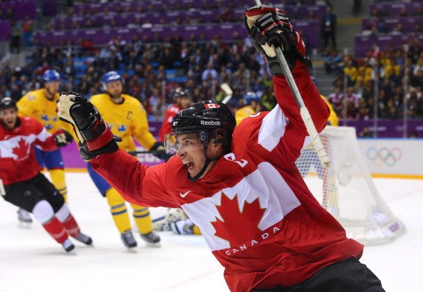 SOCHI, RUSSIA - FEBRUARY 23: Sidney Crosby #87 of Canada celebrates after scoring his team's second goal in the second period during the Men's Ice Hockey Gold Medal match against Sweden on Day 16 of the 2014 Sochi Winter Olympics at Bolshoy Ice Dome on February 23, 2014 in Sochi, Russia. (Photo by Martin Rose/Getty Images)