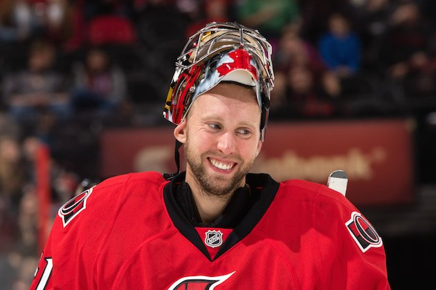 OTTAWA, ON - NOVEMBER 13: Craig Anderson #41 of the Ottawa Senators smile during a break in the game against the Minnesota Wild at Canadian Tire Centre on November 13, 2016 in Ottawa, Ontario, Canada. (Photo by Jana Chytilova/Freestyle Photography/Getty Images) *** Local Caption ***