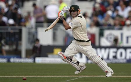 Australia's Warner plays a shot during their fourth Ashes test cricket match against England at the Riverside cricket ground, Chester-Le-Street