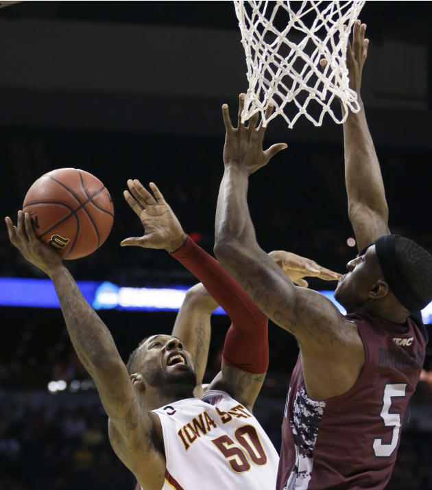 In this March 21, 2014, file photo, Iowa State guard DeAndre Kane (50) shoots against North Carolina Central guard Ebuka Anyaorah (5) during the first half of a second-round game in the NCAA college b