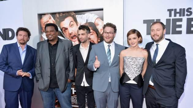 Danny McBride, Craig Robinson, Jay Baruchel, Seth Rogen, Emma Watson and writer/director Evan Goldberg attend the 'This Is The End' premiere on June 3, 2013 in Westwood, Calif. -- Getty Images