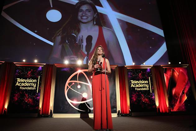 Kristin Leffler accepts The Loreen Arbus Focus on Disability Scholarship award at the 35th College Television Awards, presented by the Television Academy Foundation at The Leonard H. Goldenson Theatre