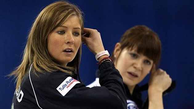 Scotland skip Eve Muirhead (L) and lead Clair Hamilton