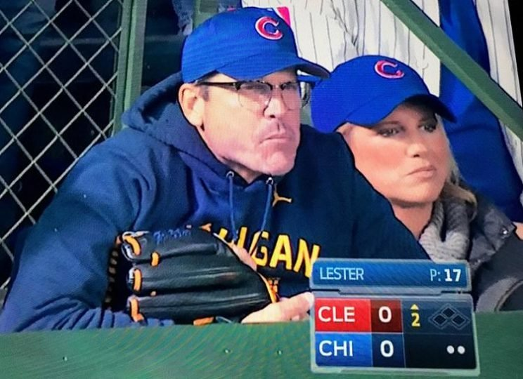An intense Jim Harbaugh takes in World Series Game 5... with his trusty glove. (FOX Sports)