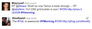 "Two YDN Jordan developer attendees' twitter feeds saying ""YQL is awesome"" and ""YUI CSS grid builder is cool"""