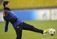 Barcelona's forward Lionel Messi controls a ball during a training session in Moscow on the eve of an UEFA Champions League football match against Spartak Moscow