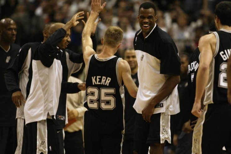 David Robinson and Steve Kerr celebrate the re-opening of a championship window. (Ronald Martinez/Getty Images)