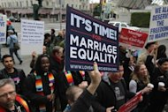 File picture shows demonstrators in San Francisco, California in February. Barack Obama became the first US president to say publicly Wednesday he was in favor of same-sex marriage, in a high-stakes intervention in a pre-election debate roiling American politics.