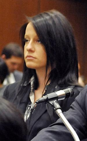 FILE - This Dec. 2, 2009 file photo shows Courtney Leigh Ames, 19, appearing in court in Los Angeles. Ames pleaded no contest Friday Dec. 14, 2012 to receiving a jacket stolen from heiress Paris Hilton. (AP Photo/Nick Ut, file)
