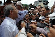"Surya Subedi (L), UN special rapporteur on the situation of Human Rights in Cambodia speaks to the media in Phnom Penh on May 9, 2012. Subedi voiced regret Friday at an apparent snub by government officials adding he was also ""surprised"" by criticism he has received for highlighting rights abuses"