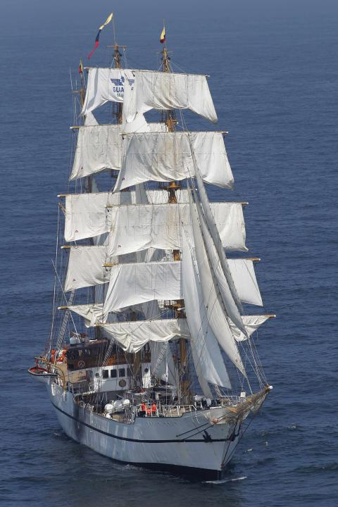 "Ecuadorian-registered sailing ship Guayas takes part in the ""Velas de America"" sailing encounter in Callao Bay"