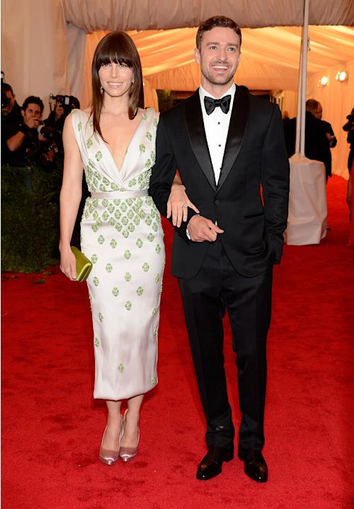 Four months after announcing their engagement, Jessica Biel and Justin Timberlake made their first official public appearance together at the 2012 Met Costume Institute Gala in NYC on Monday night. No