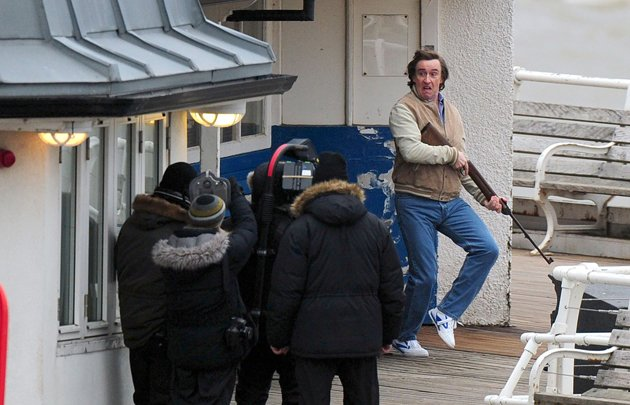Desperate... Alan goes nuts on Cromer Pier (Credit: Jeremy Durkin/Rex Features)