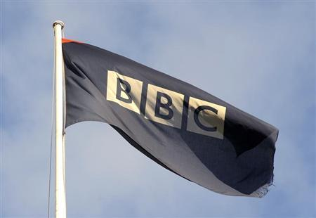 A logo for the British Broadcasting Corporation (BBC) is seen at its Broadcasting House in central London