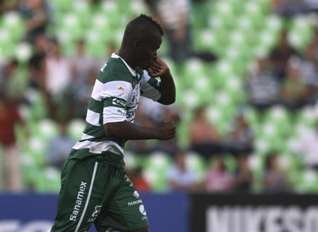 Quintero of Mexico's Santos Laguna celebrates after scoring a goal against El Salvador's Aguila FC during their CONCACAF Champions League soccer match in Torreon